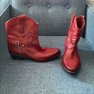 Franco Sarto Red Ankle Boots